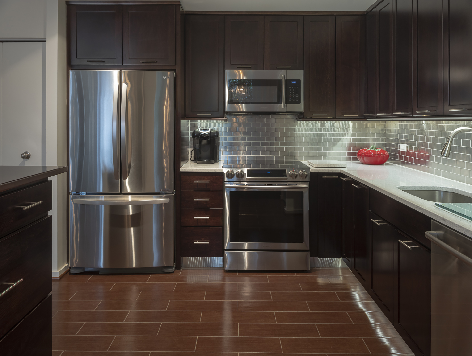 Building Your Dream Interior Kitchen with Dark Wood Cabinets Fridge and Oven